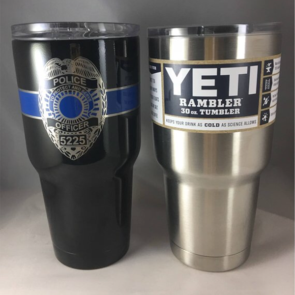 Personalized Police Yeti Tumbler 30oz With Blue Line And Laser Engraved
